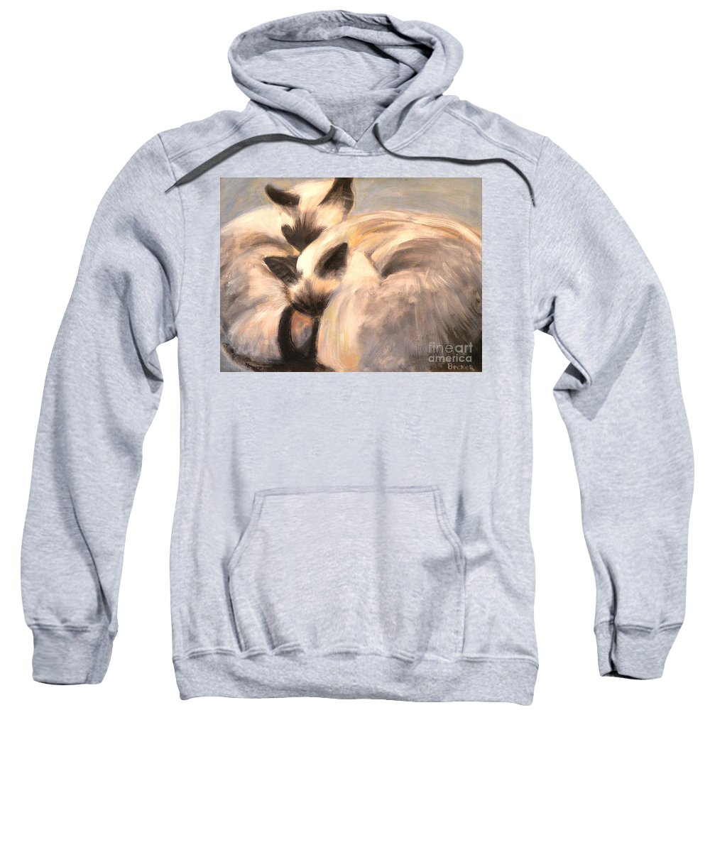Cat Sweatshirt featuring the painting Siamese Lovers by Susan A Becker