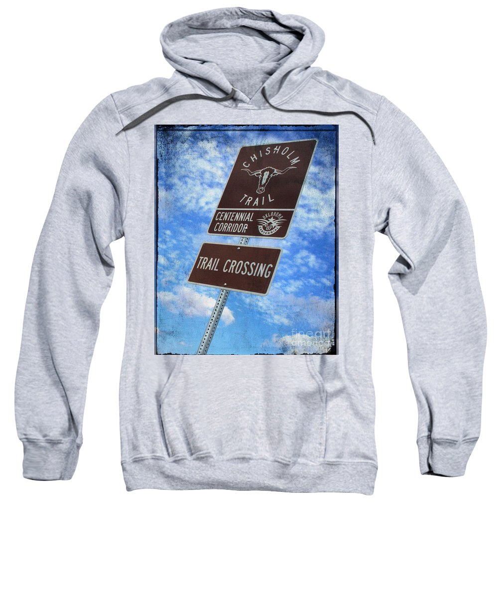 Chisholm Trail Sweatshirt featuring the photograph Sign On The Trail by Toni Hopper