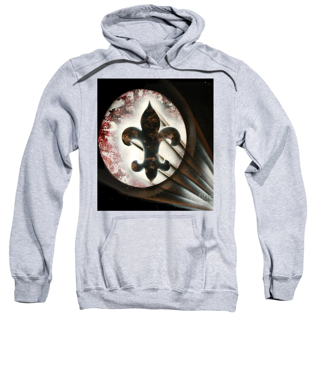 Fleur Di Lis Sweatshirt featuring the painting Signal Di Lis by Thomas Oliver