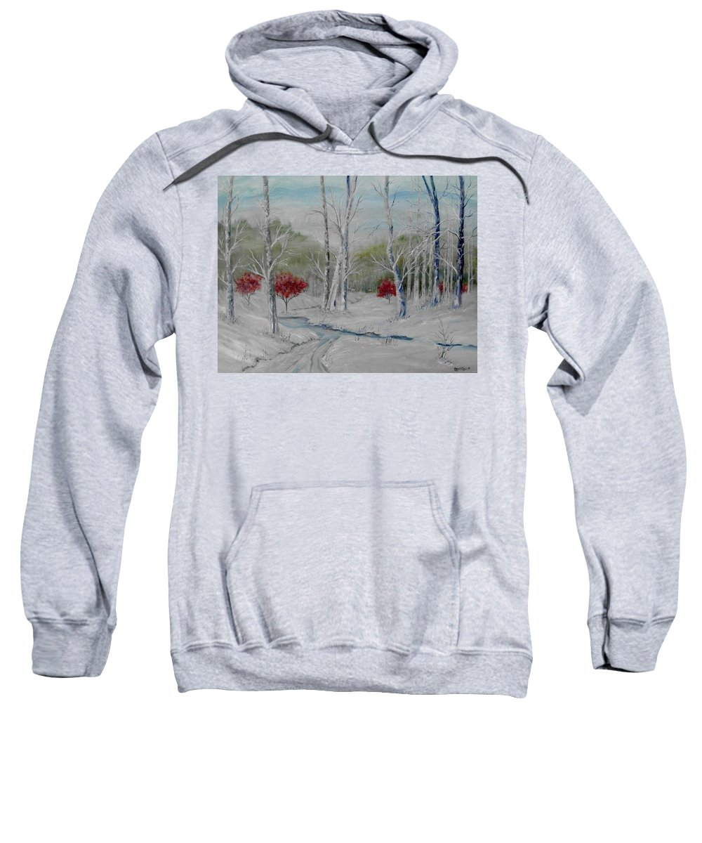 Snow; Winter; Birch Trees Sweatshirt featuring the painting Silence by Ben Kiger