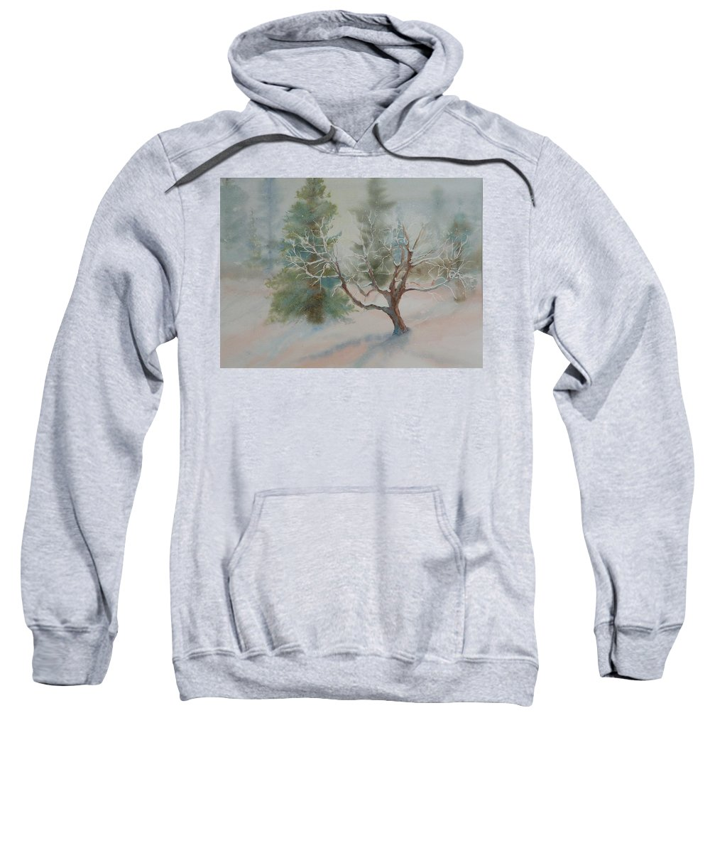 Snow Sweatshirt featuring the painting Silence by Ruth Kamenev