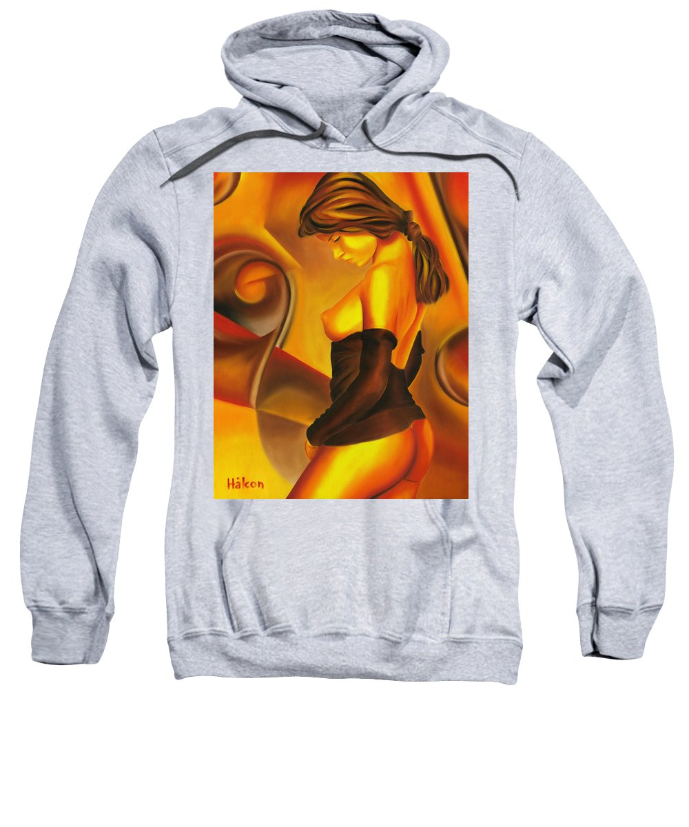 Nude Sweatshirt featuring the painting Silent Contemplation by Hakon Soreide