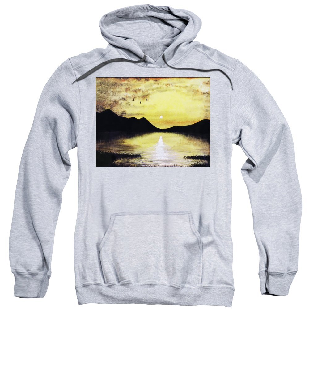 2d Sweatshirt featuring the painting Silhouette Lagoon by Brian Wallace