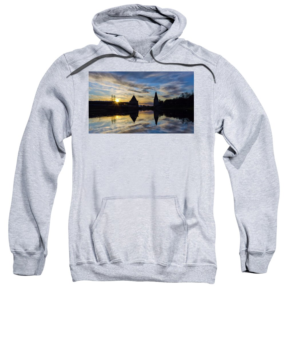 Sky Sweatshirt featuring the photograph Silhouette Of Stronghold And Sunset. Pskov Kremlin. Russia by Maya Afzaal