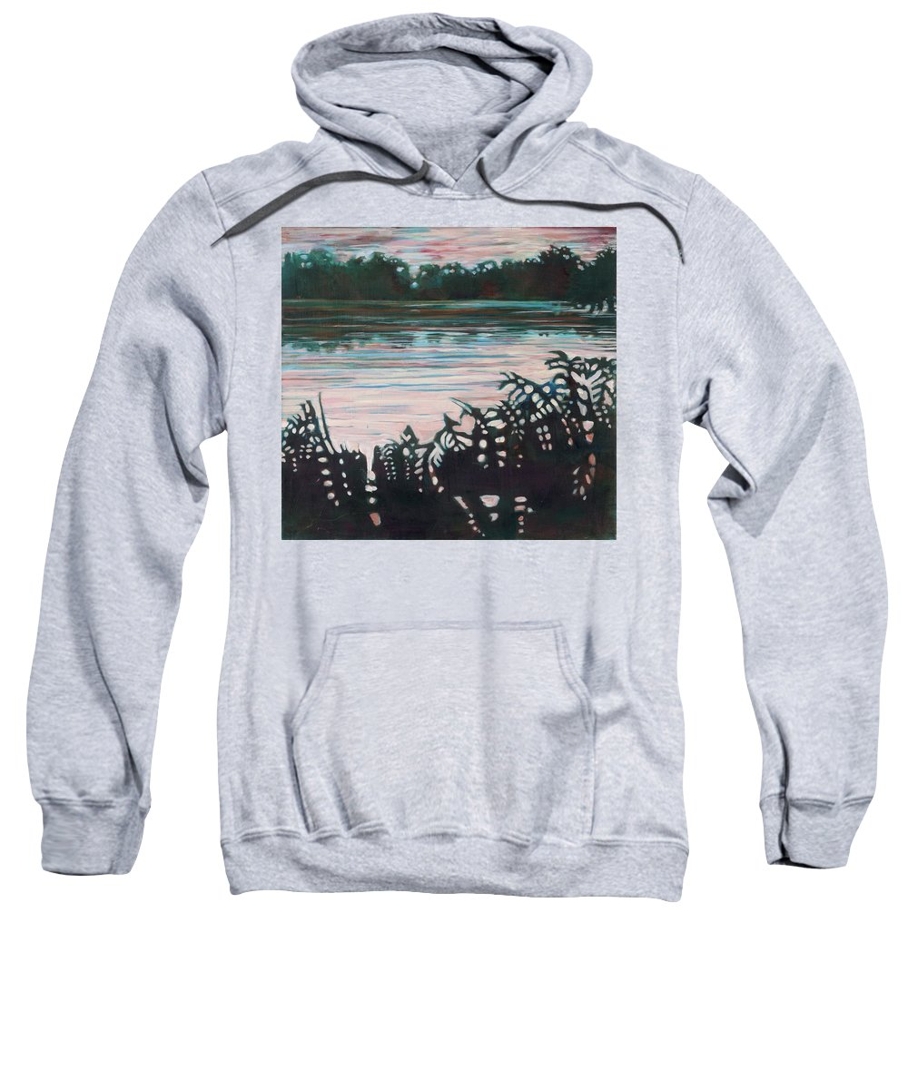 Landscape Sweatshirt featuring the painting Silhouetted Serenity by Joan Maresh Hansen
