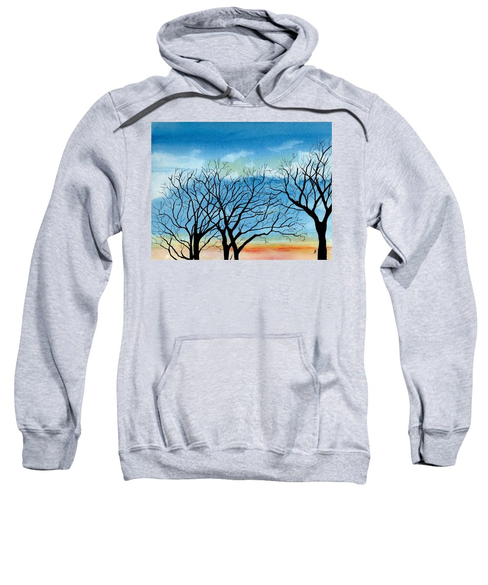 Landscape Sweatshirt featuring the painting Silhouettes Against The Sky by Brenda Owen
