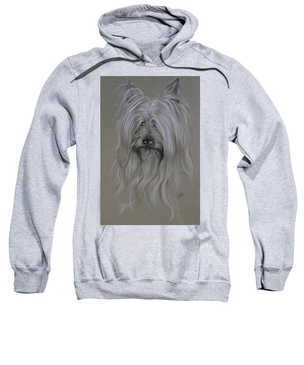 Purebred Sweatshirt featuring the drawing Silky Terrier by Barbara Keith