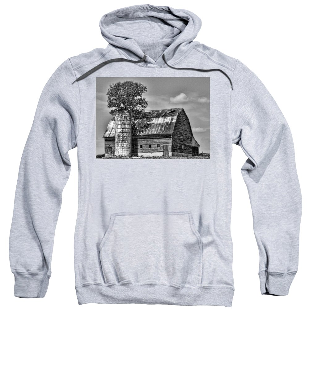 Black And White Sweatshirt featuring the photograph Silo Tree Black And White by Kristie Bonnewell