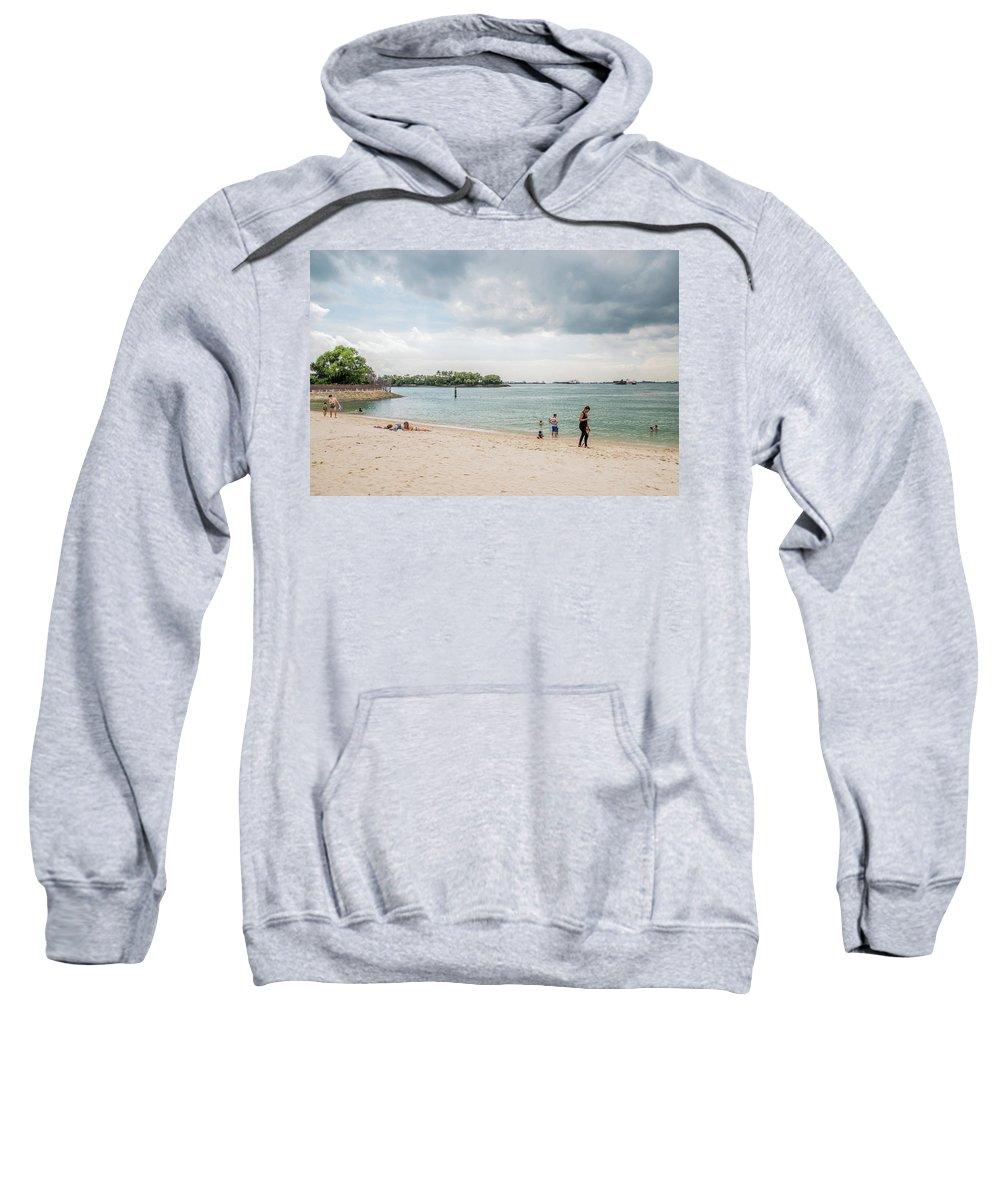 Siloso Sweatshirt featuring the photograph Siloso Beach by David Rolt
