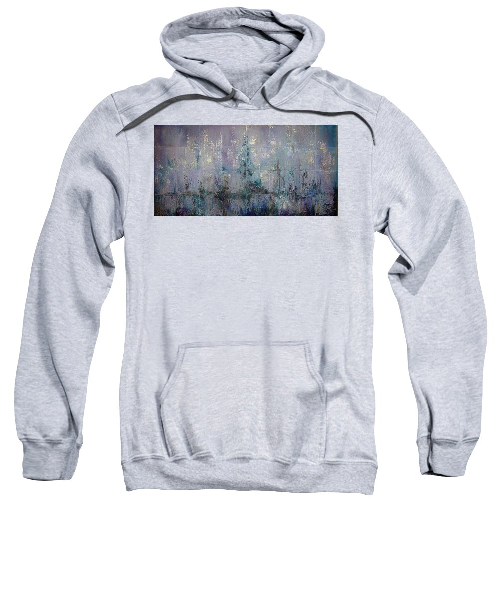 Abstract Sweatshirt featuring the painting Silver And Silent by Shadia Derbyshire