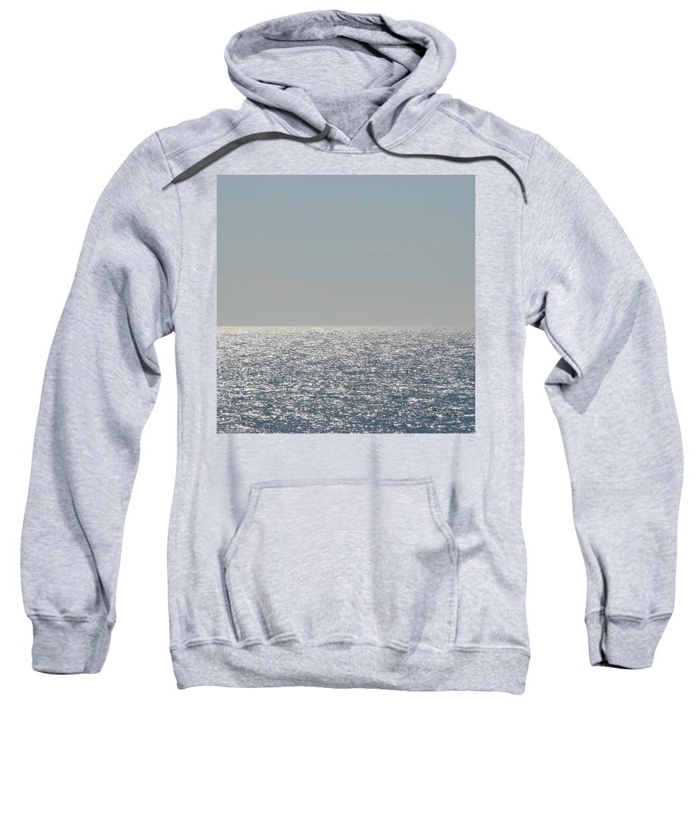 Blue Sweatshirt featuring the photograph Silver Light On Lake Michigan by Michelle Calkins