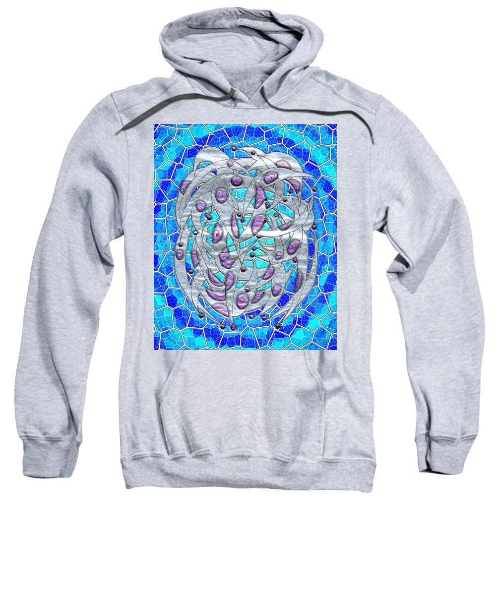 Abstract Sweatshirt featuring the digital art Silver On Blue Stained Glass by Mark Sellers