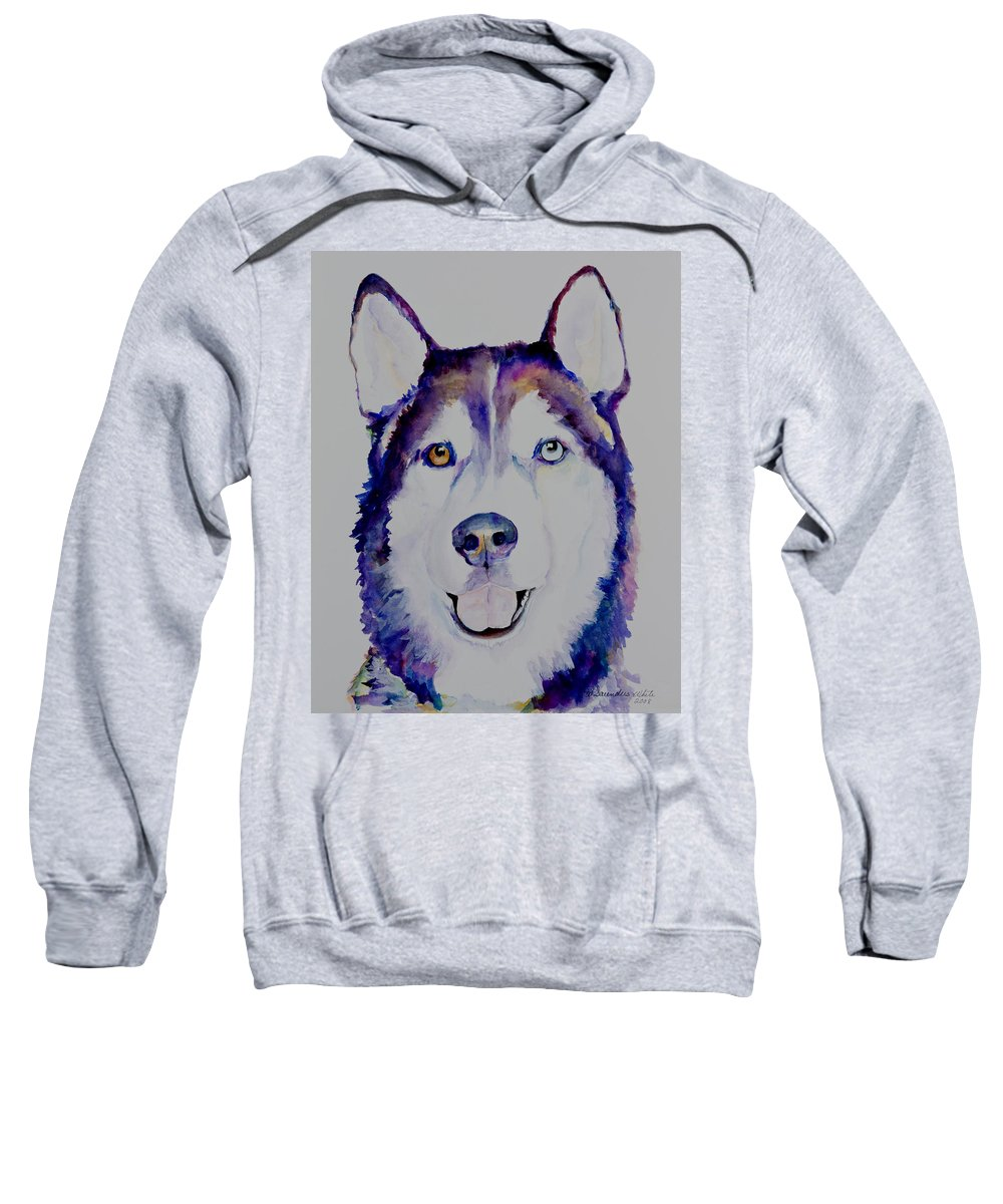 Siberian Husky Sweatshirt featuring the painting Simba by Pat Saunders-White