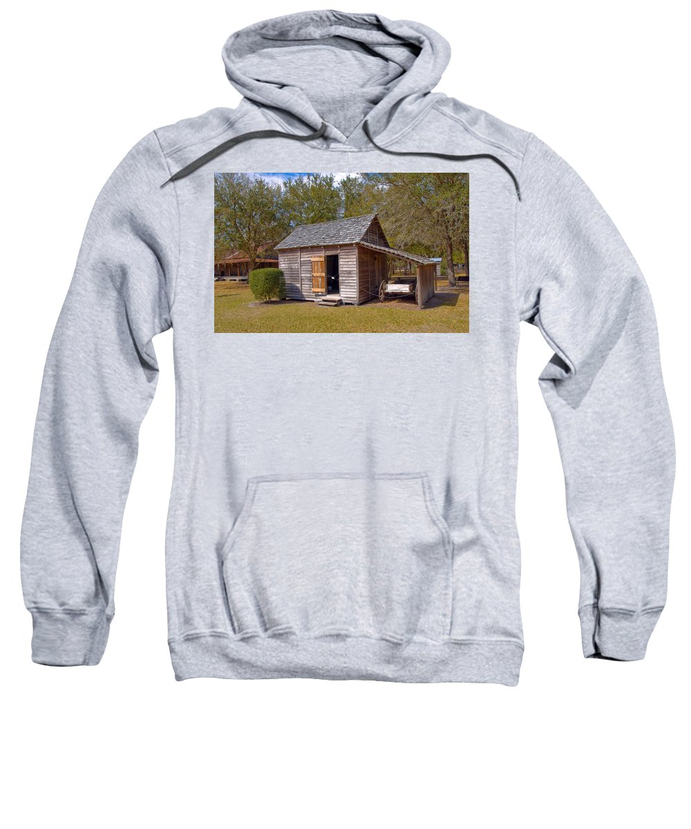 Cabin Sweatshirt featuring the photograph Simmons Cabin Built In 1873 In Orange County Florida by Allan Hughes