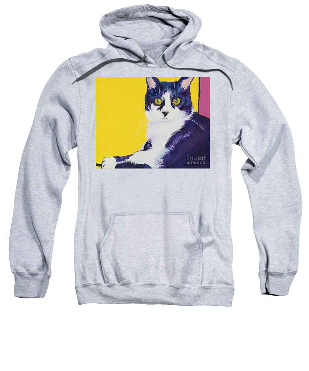 Tuxedo Cat Sweatshirt featuring the painting Simon by Pat Saunders-White