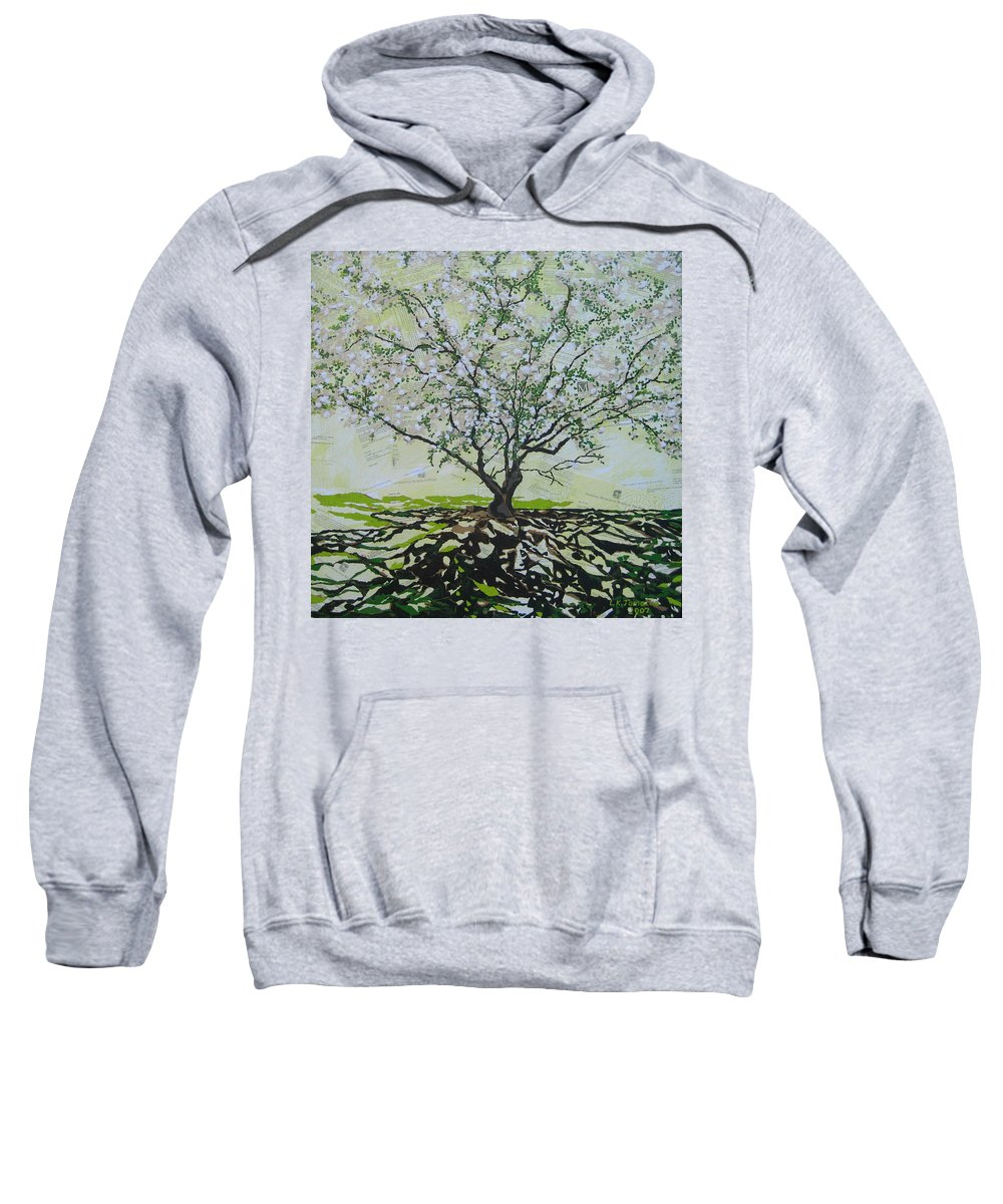 Apple Tree Sweatshirt featuring the painting Sincerely-the Curator by Leah Tomaino