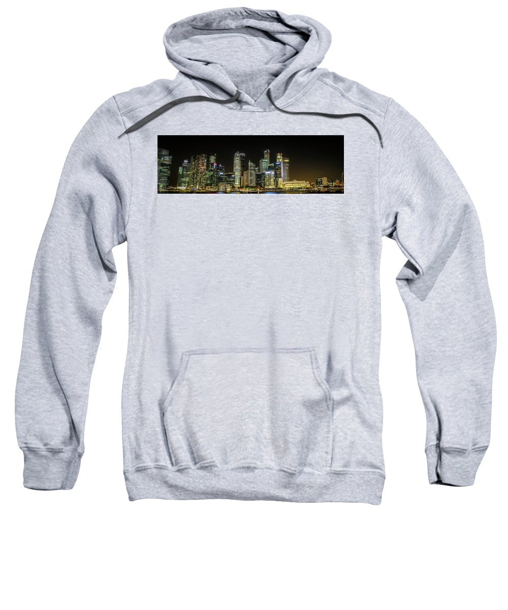 Singapore Sweatshirt featuring the photograph Singapore Evening Cascade by Janet Giles