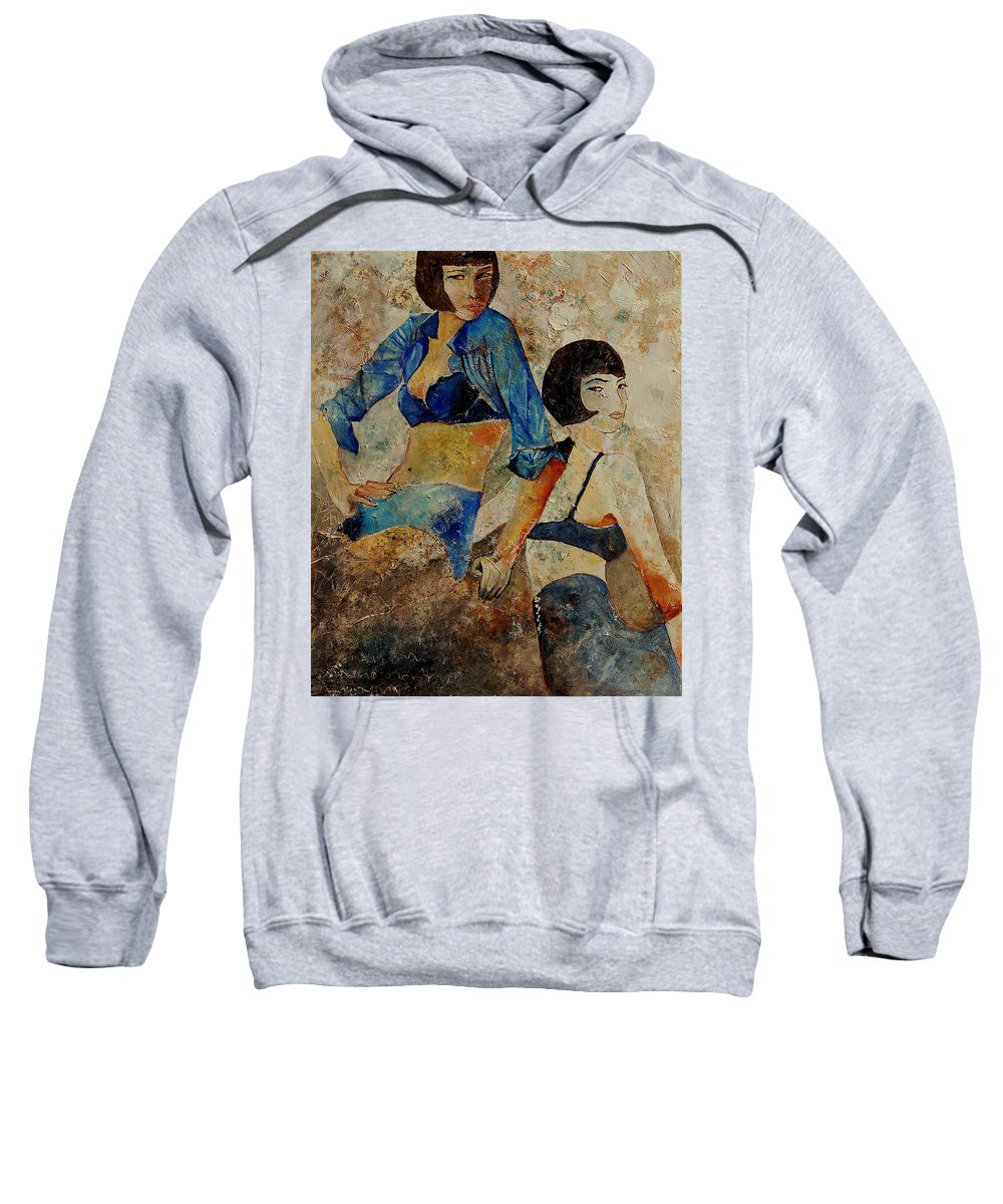 Girl Sweatshirt featuring the painting Sisters by Pol Ledent