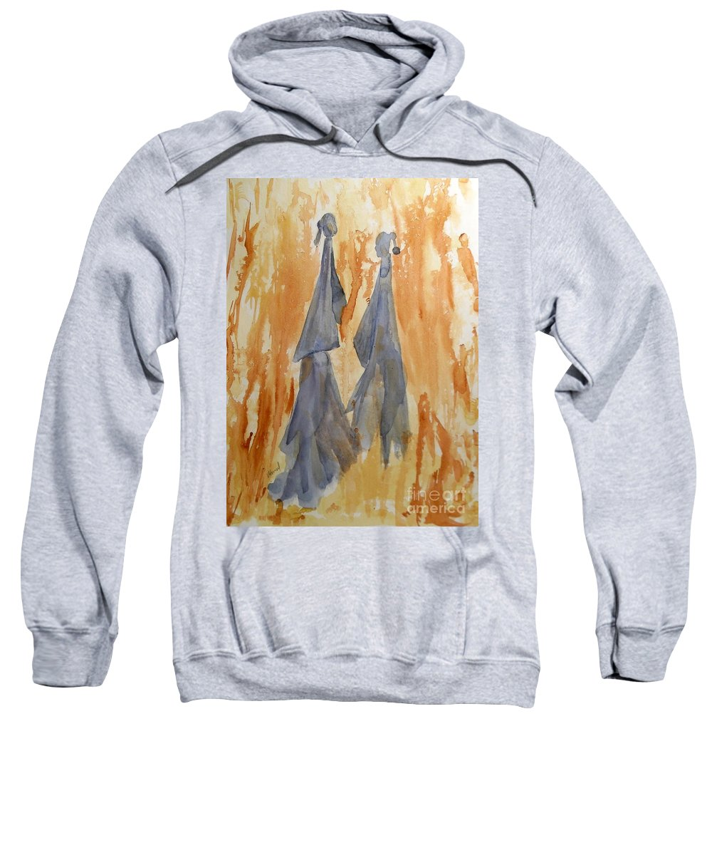 Watercolor Sweatshirt featuring the painting Sisters by Vicki Housel