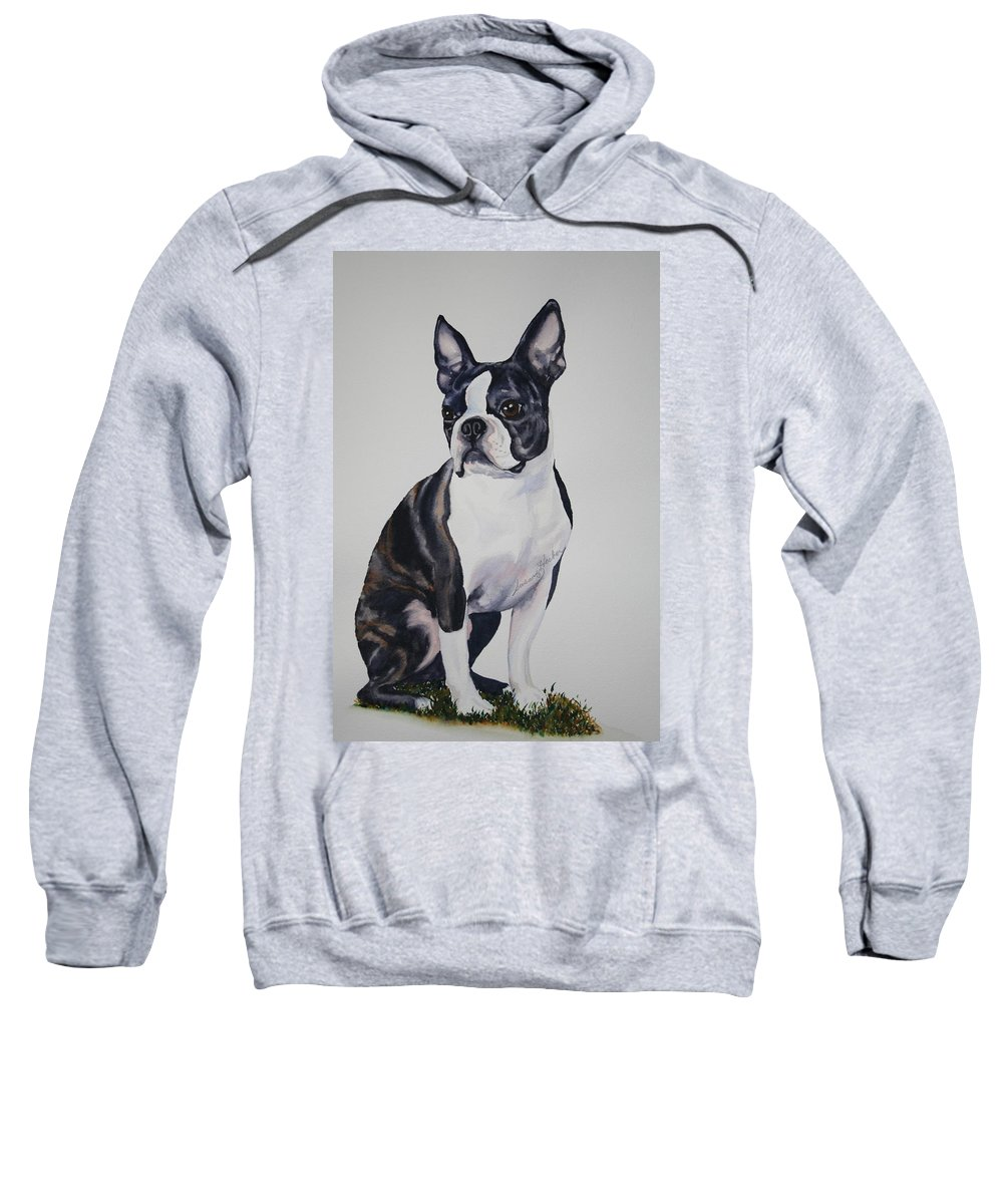 Boston Terrier Sweatshirt featuring the painting Sit by Susan Herber