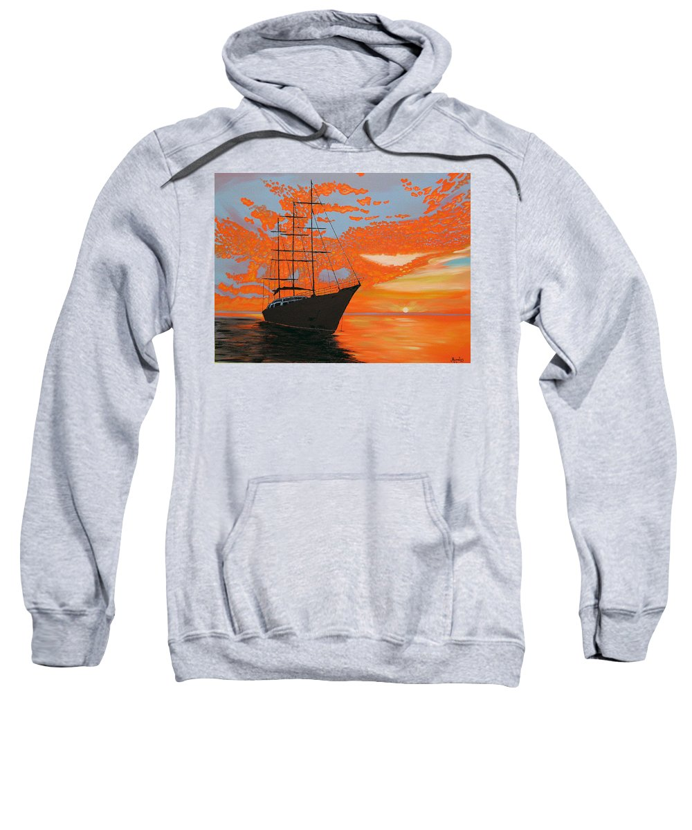 Seascape Sweatshirt featuring the painting Sittin' On The Bay by Marco Morales