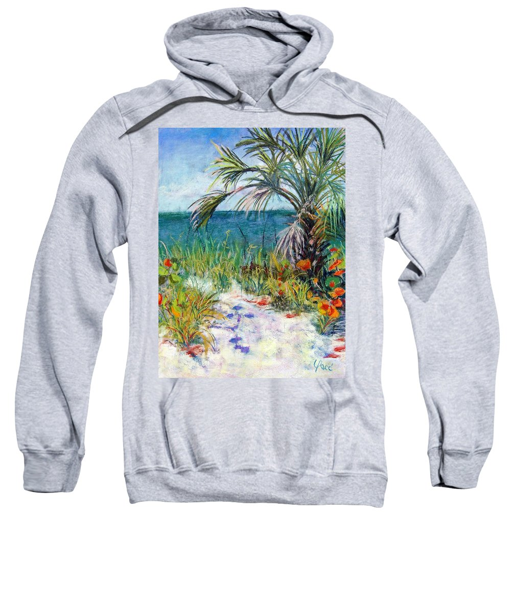 Wiggins Pass Sweatshirt featuring the painting Sitting At Wiggins Pass by Laurie Paci