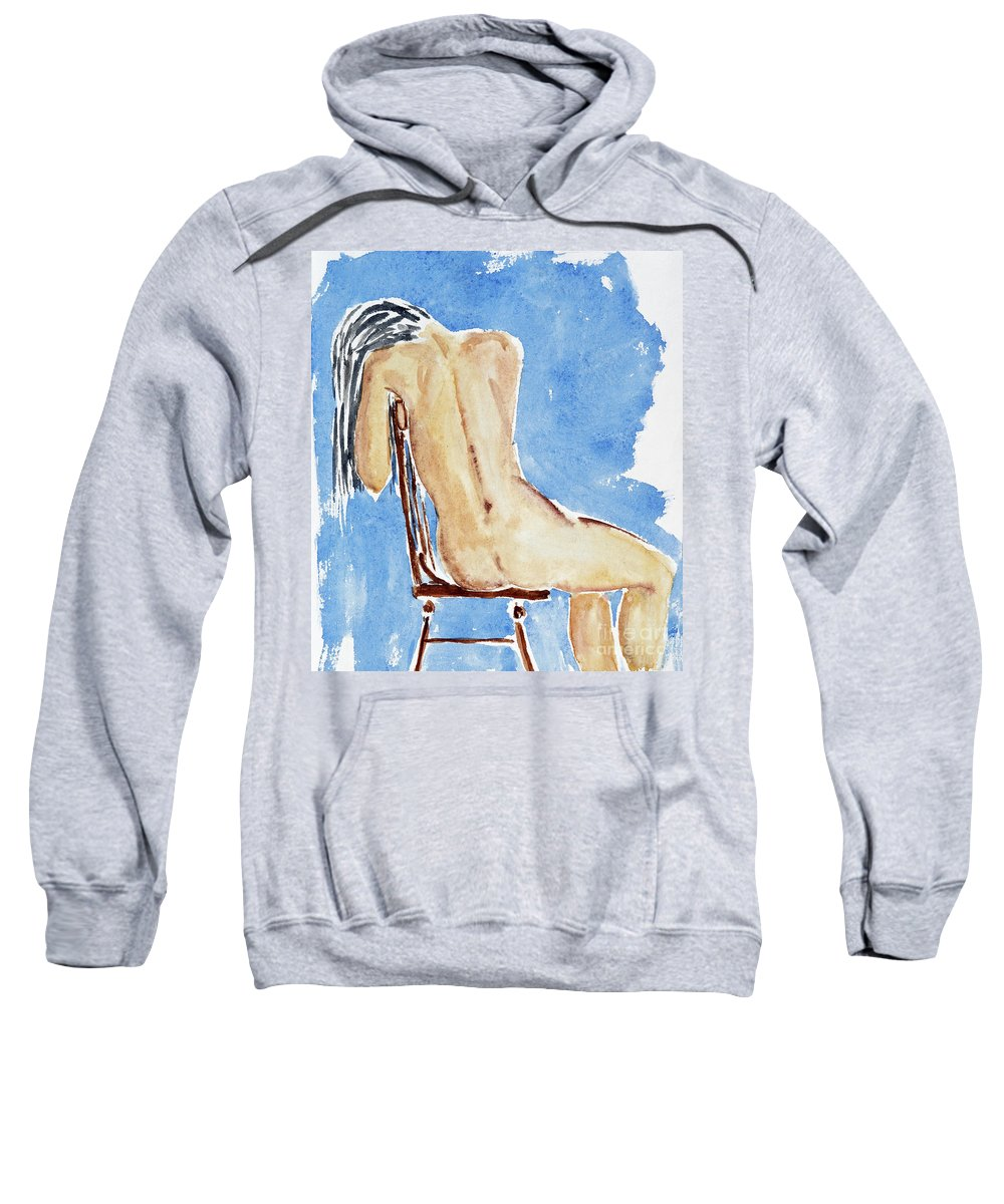 Girl Sweatshirt featuring the painting Sitting Girl by Michal Boubin