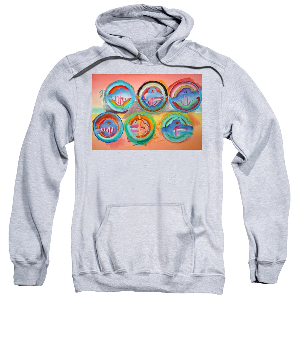 9/11 Sweatshirt featuring the painting Six American Icons by Charles Stuart