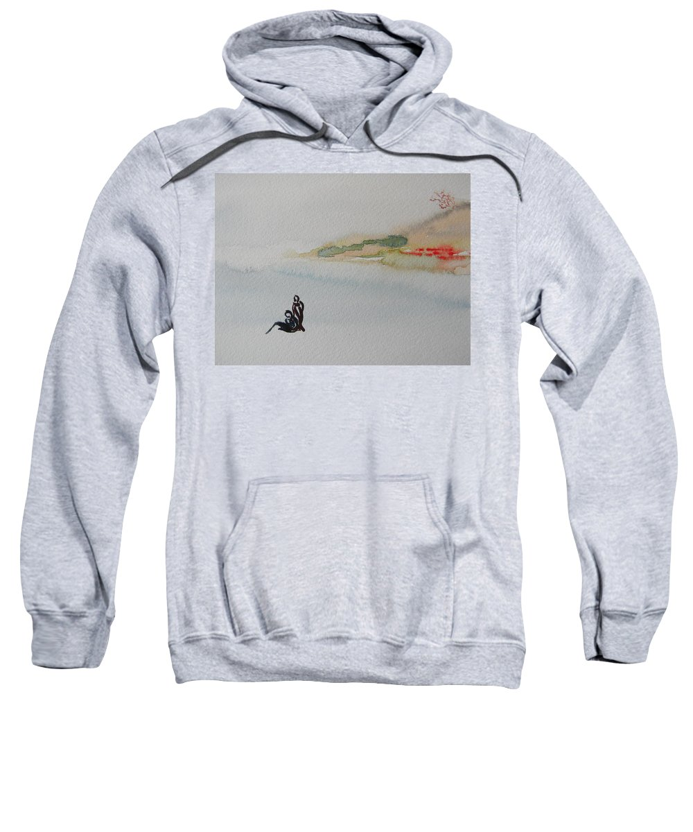Landscapes Sweatshirt featuring the painting Six Seasons Dance Two by Marwan George Khoury