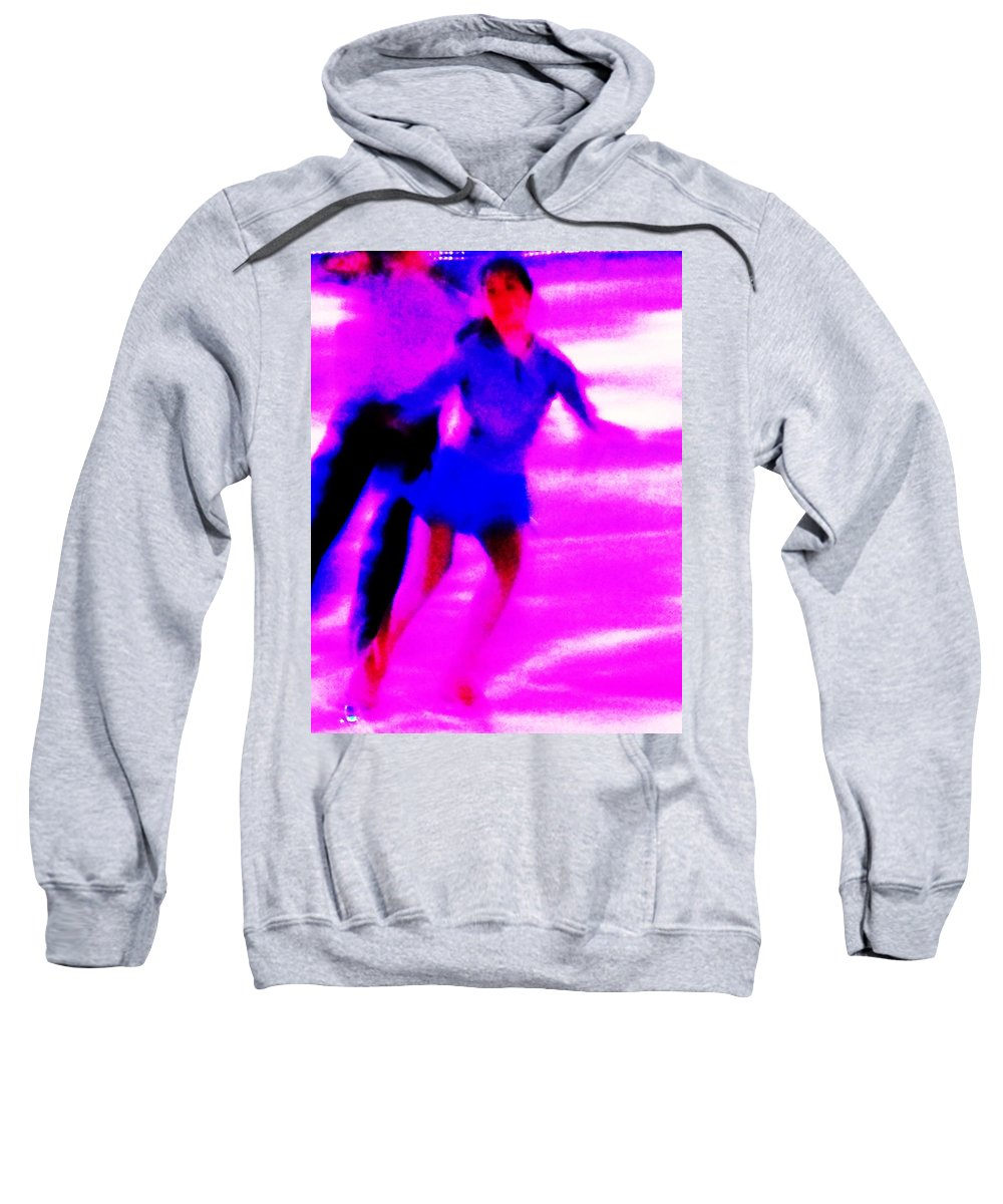 Skating Couple Sweatshirt featuring the painting Skating Couple Abstract by Eric Schiabor