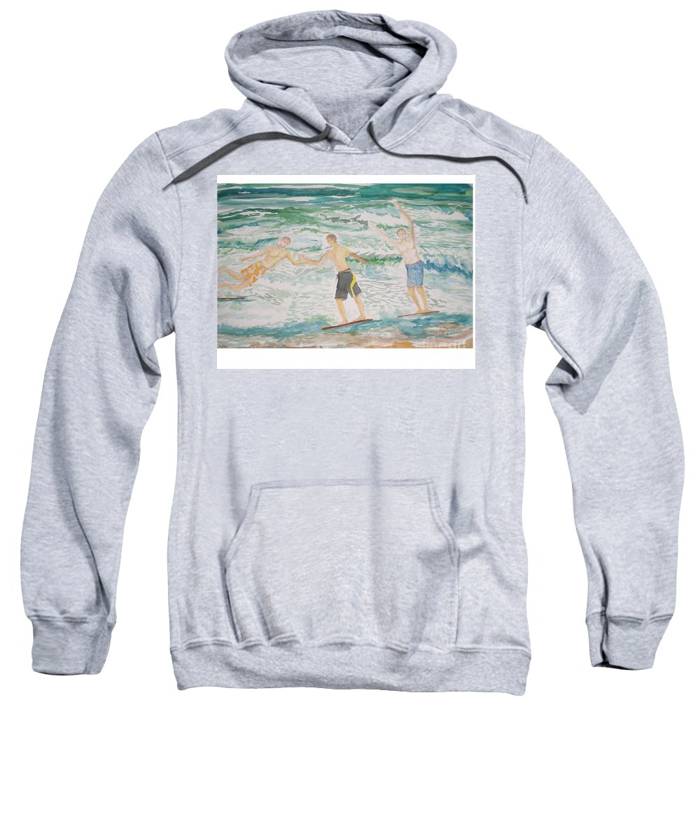 Seascape Sweatshirt featuring the painting Skim Boarding Daytona Beach by Hal Newhouser