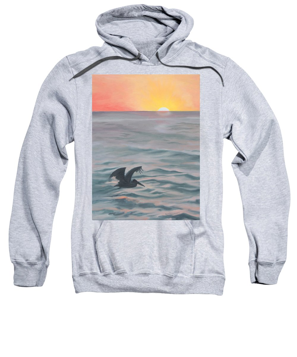 Seascape Sweatshirt featuring the painting Skimming The Surface by Darlene Weaver
