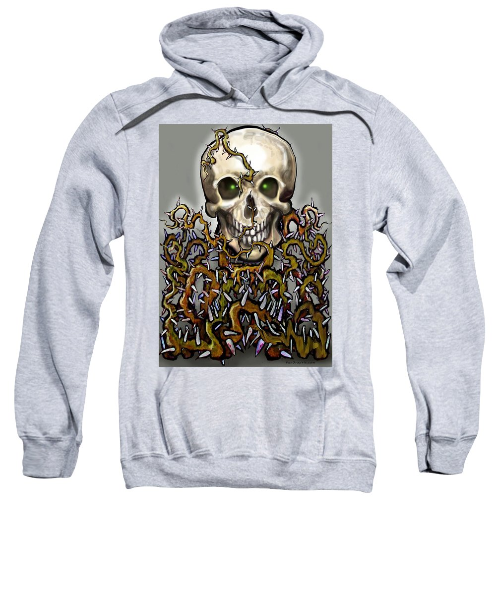 Skull Sweatshirt featuring the painting Skull N Thorns by Kevin Middleton
