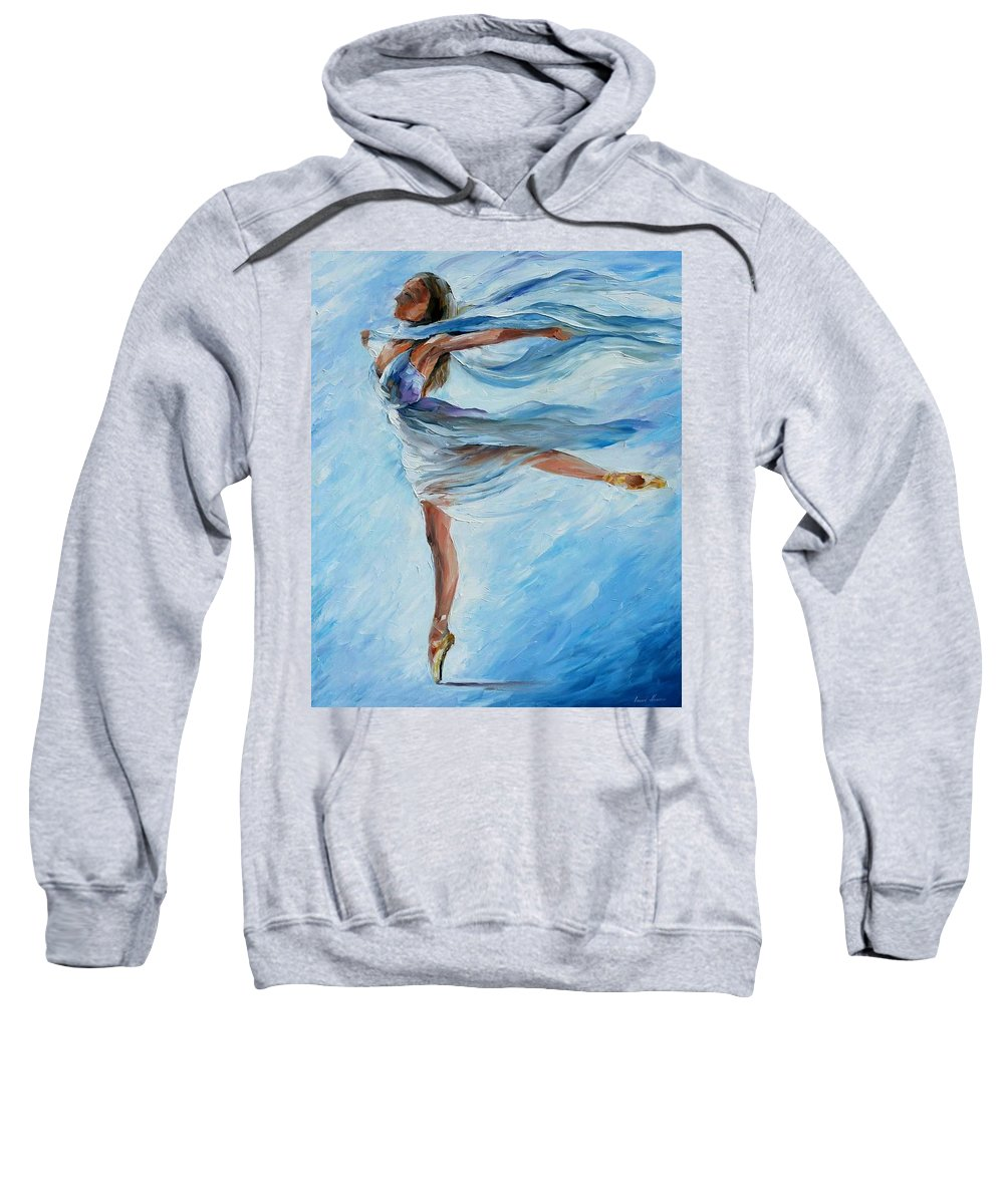 Ballet Sweatshirt featuring the painting Sky Dance by Leonid Afremov