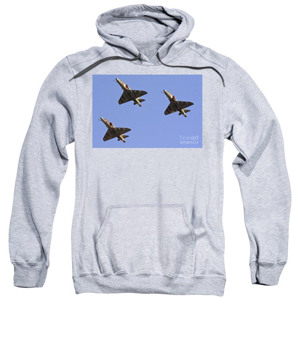 Aircraft Sweatshirt featuring the photograph Skyhawk Fighter Jet In Formation by Nir Ben-Yosef