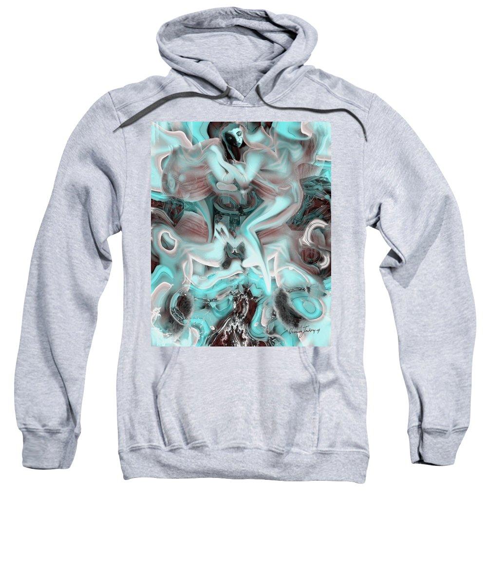 Space Sllep Blue Float Navigate Alien Sweatshirt featuring the digital art Sleeping In My Space Ship by Veronica Jackson