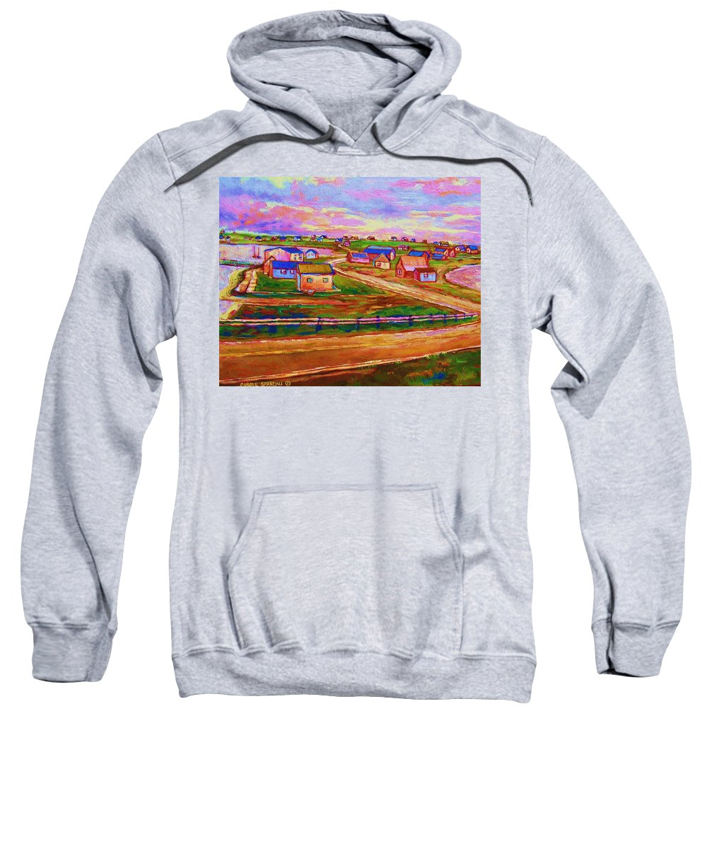 Sunrise Sweatshirt featuring the painting Sleepy Little Village by Carole Spandau