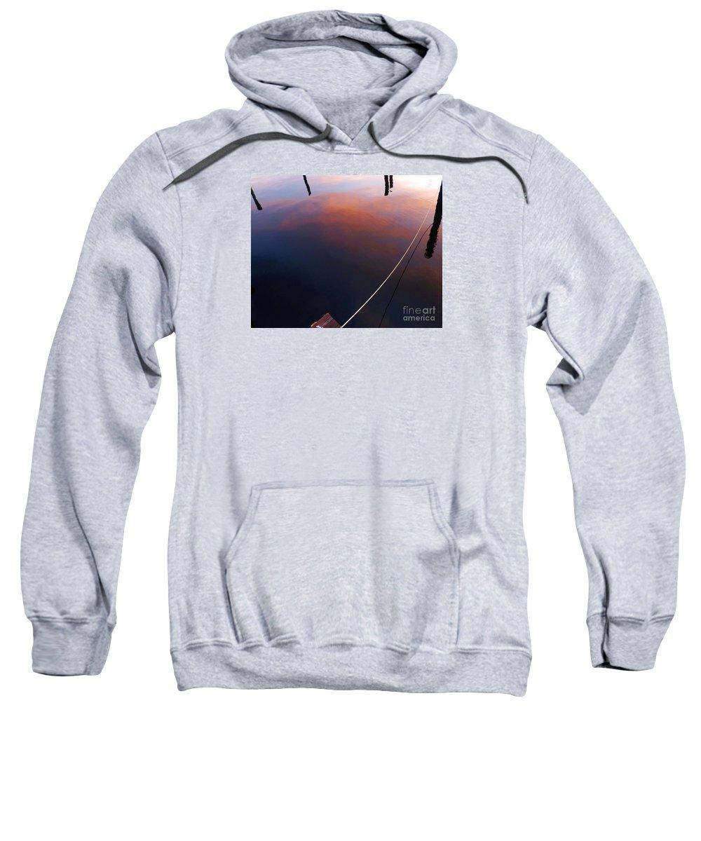 Boat Slip Sweatshirt featuring the photograph Slipped Away by Barbie Corbett-Newmin