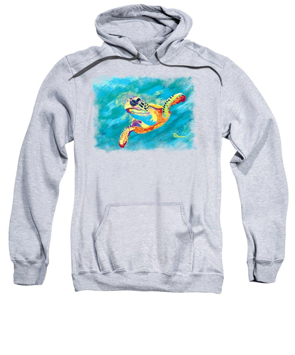 Sea Turtle Sweatshirt featuring the digital art Slow Ride by Kevin Putman