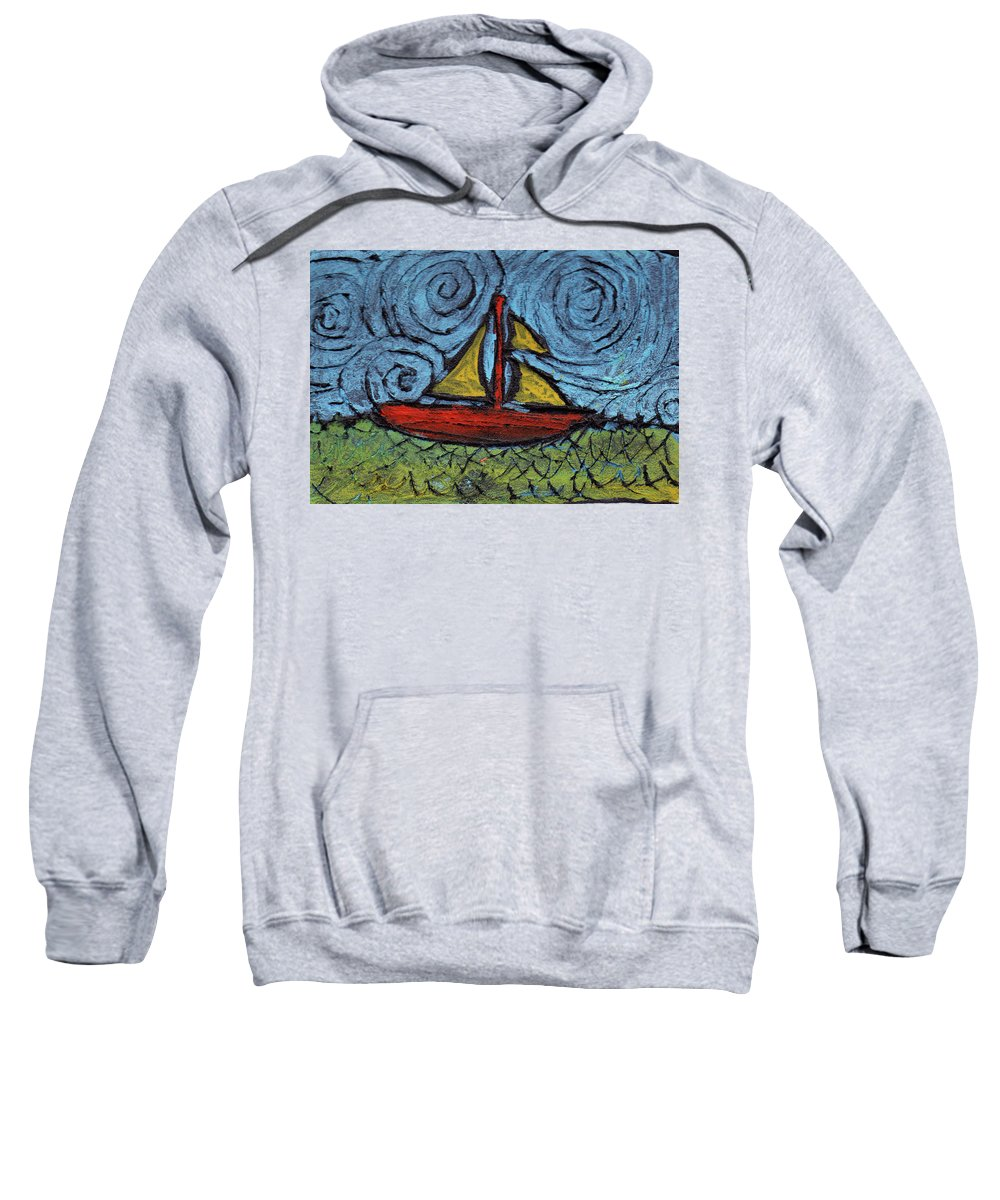 Sail Sweatshirt featuring the painting Small Boat With Yellow Sail by Wayne Potrafka
