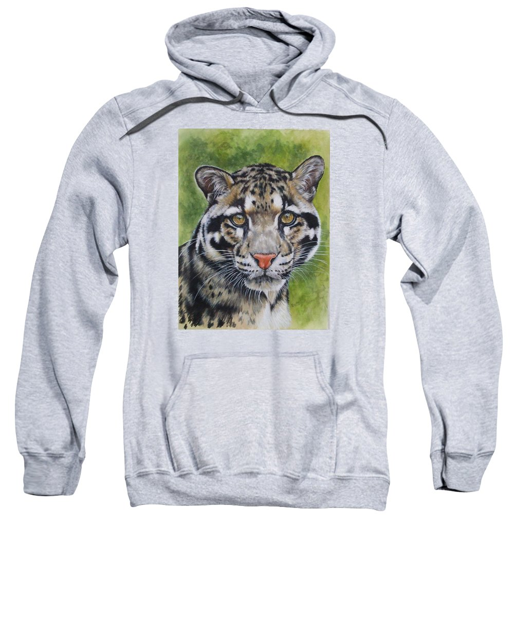 Clouded Leopard Sweatshirt featuring the mixed media Small But Powerful by Barbara Keith
