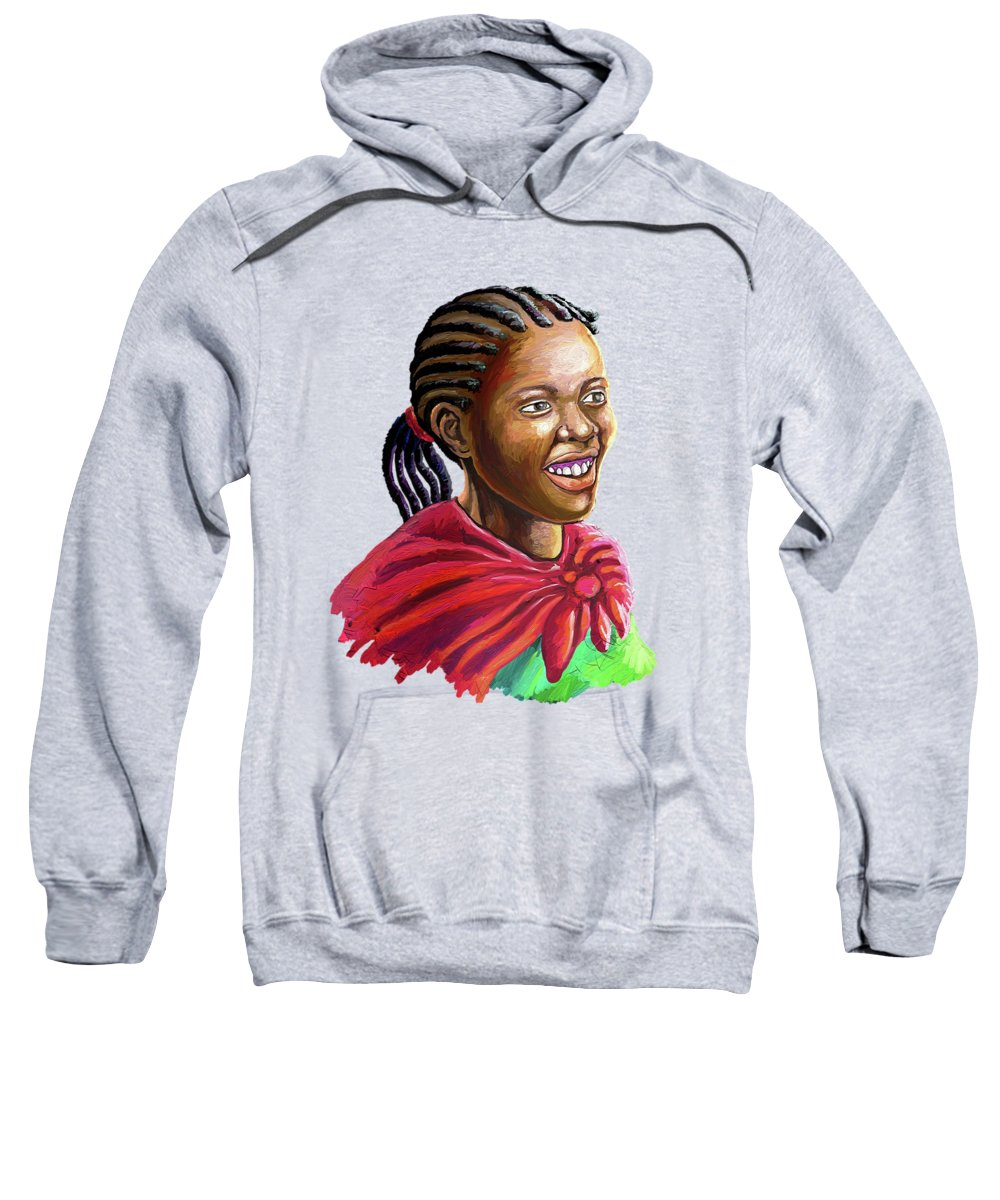 Painting Sweatshirt featuring the painting Smile by Anthony Mwangi