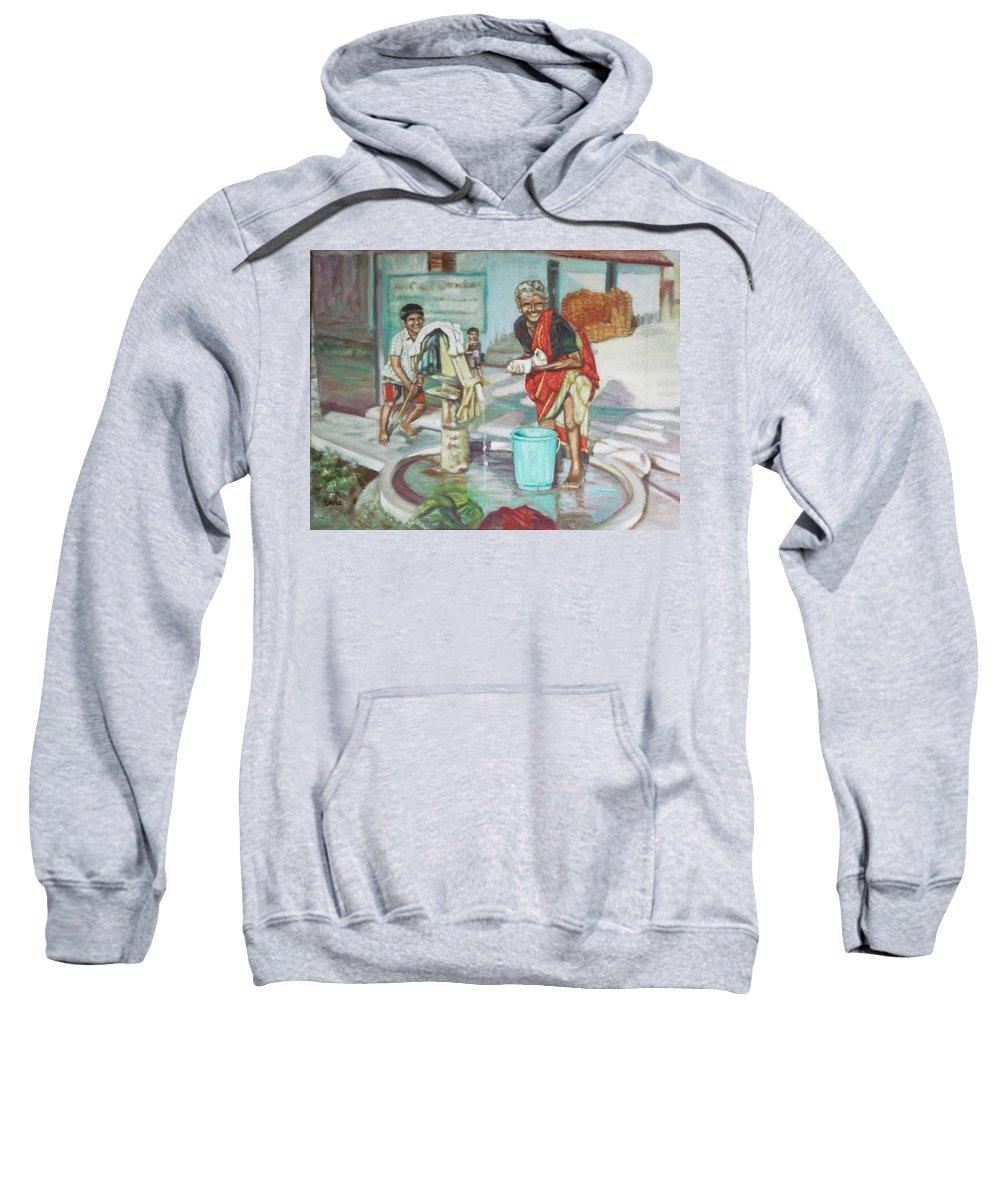 Usha Sweatshirt featuring the painting Smile Plz by Usha Shantharam
