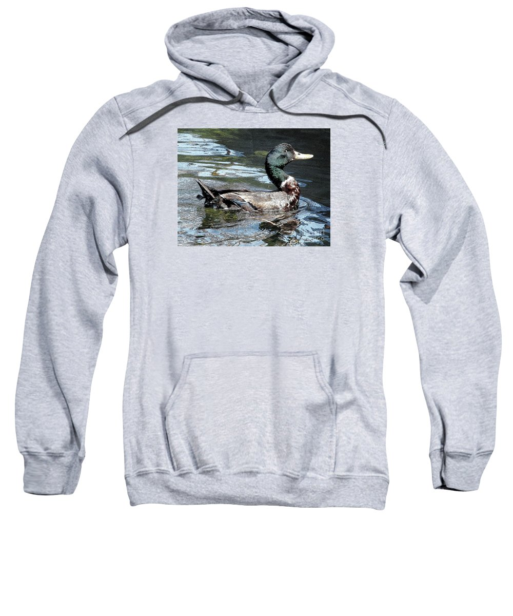 Ducks Sweatshirt featuring the photograph Smiling Duck by Rose Santuci-Sofranko