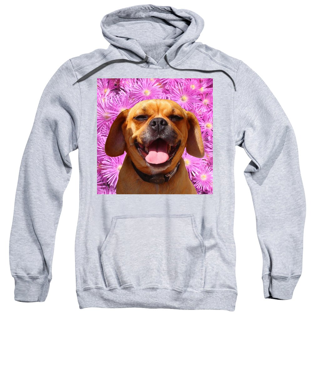 Animal Sweatshirt featuring the painting Smiling Pug by Amy Vangsgard