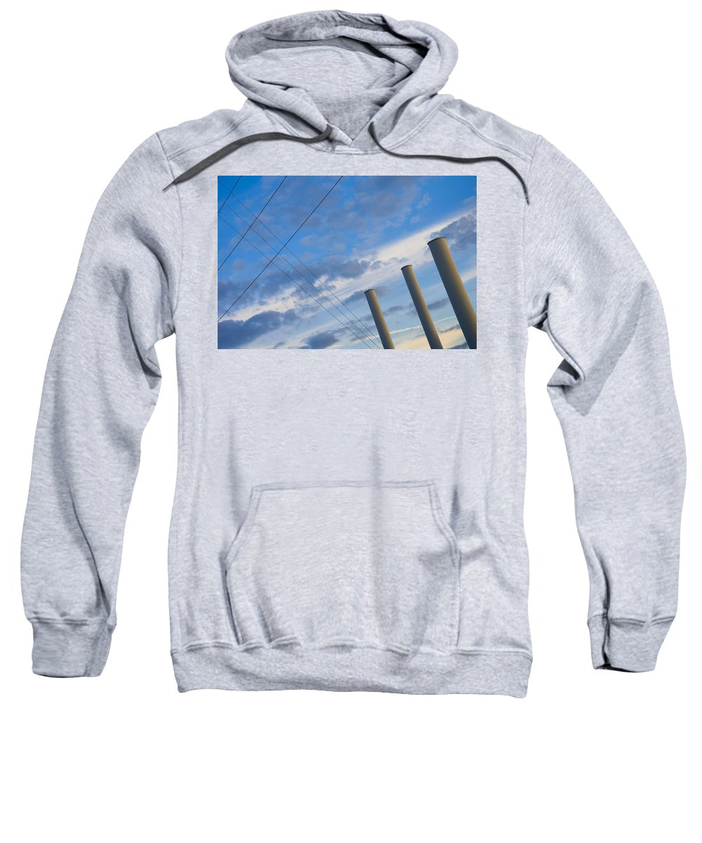Blue Sweatshirt featuring the photograph Smoke Stax by Skip Hunt
