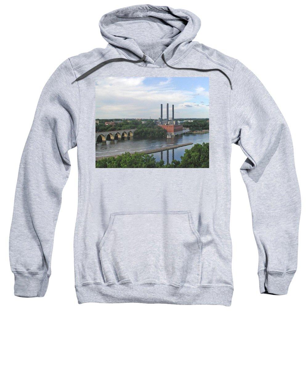 Minneapolis Sweatshirt featuring the photograph Smokestacks On The Mississippi by Tom Reynen