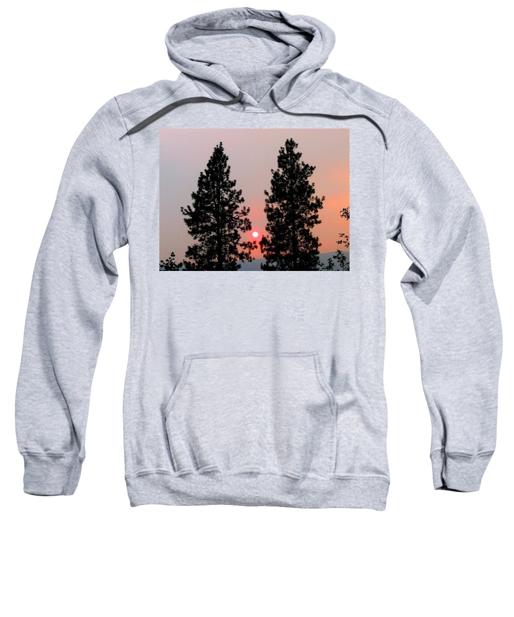 Smoke Sweatshirt featuring the photograph Smokey Okanagan Sunset by Will Borden