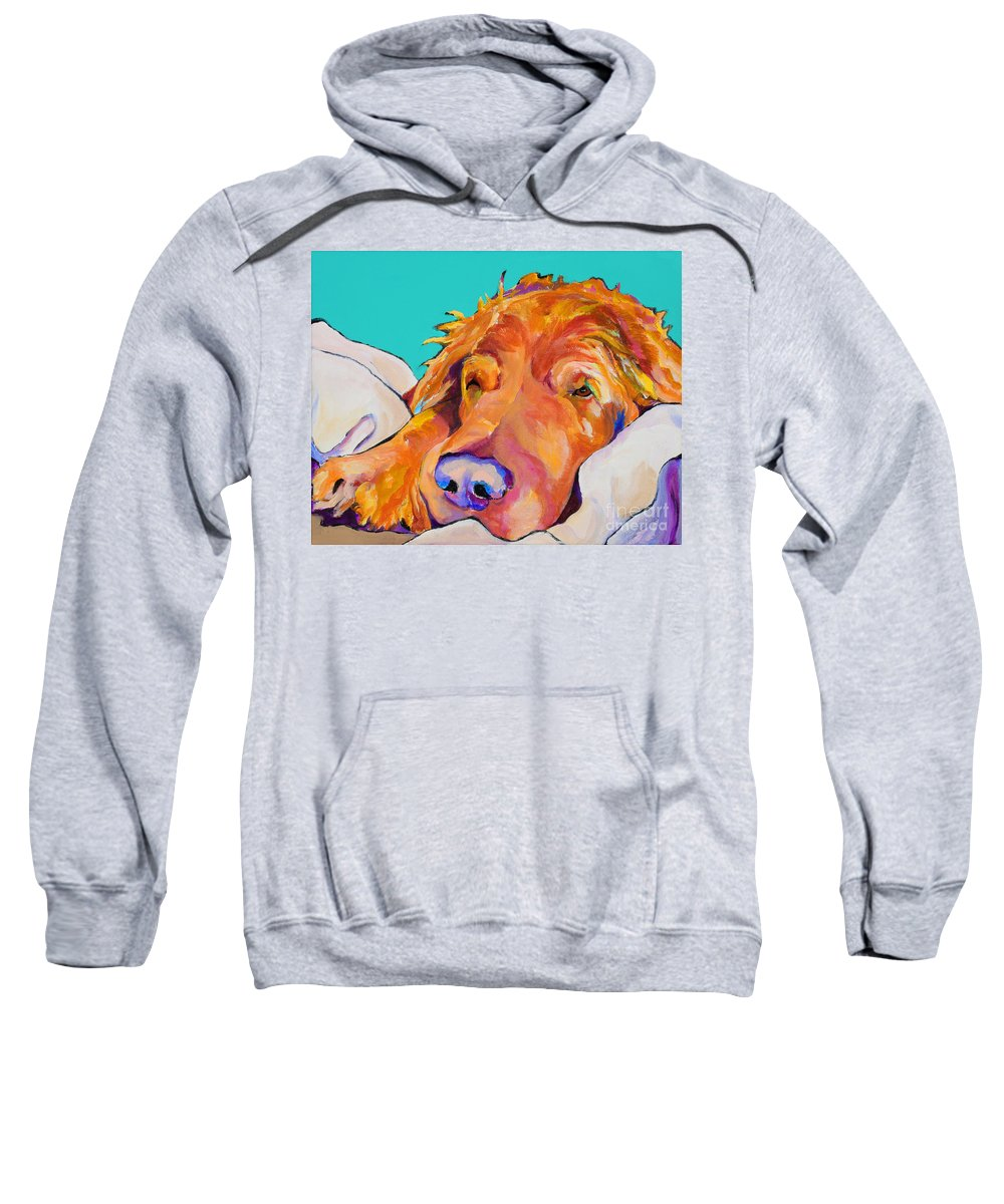 Dog Poortraits Sweatshirt featuring the painting Snoozer King by Pat Saunders-White