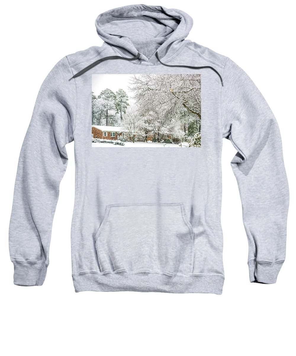 Snow Sweatshirt featuring the photograph Snow 20180312 5510t by Doug Berry